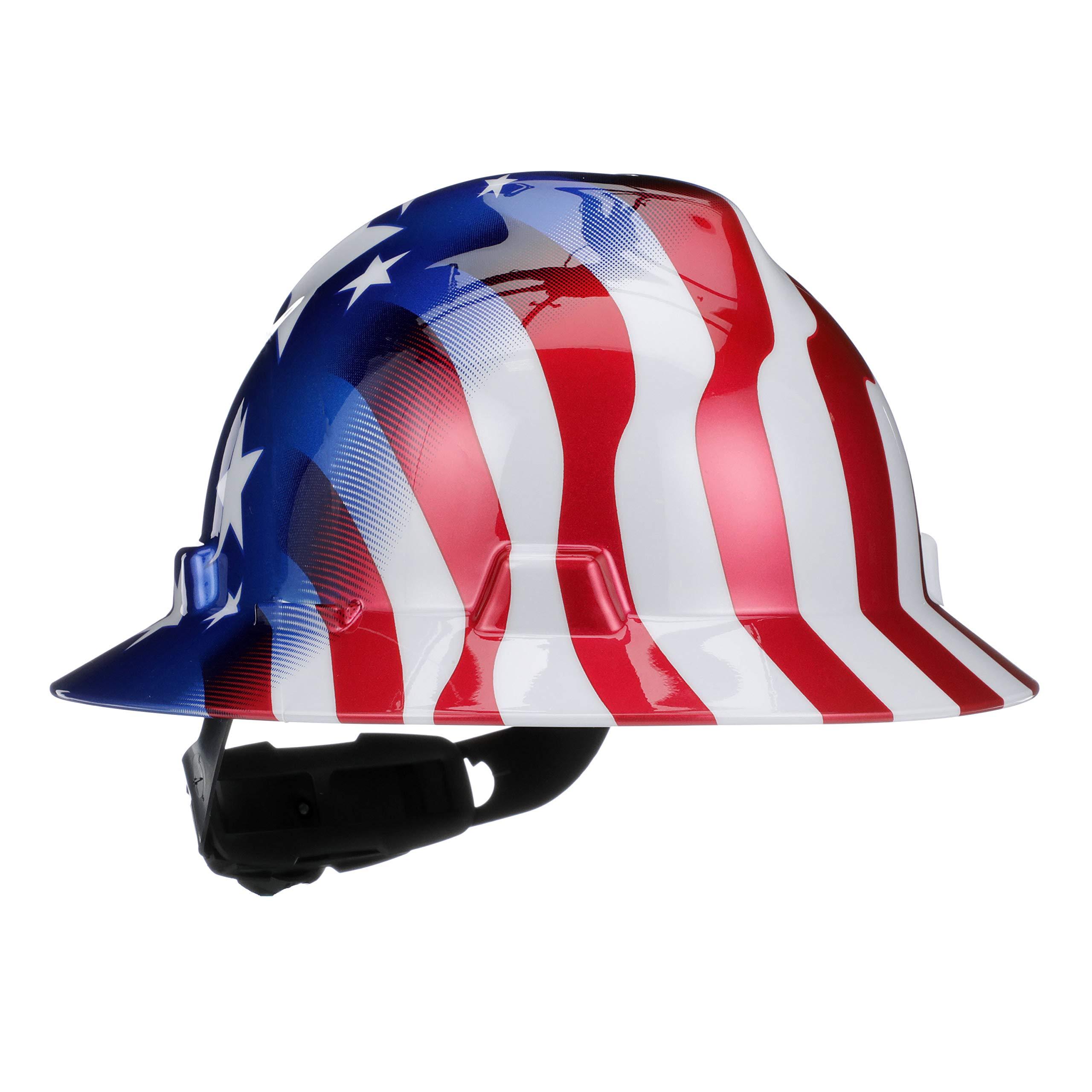 MSA 10071157 V-Gard Full-Brim Hard Hat, Stars & Strips,, Capacity, Volume, Polyethylene, Standard, Red/White/Blue by MSA