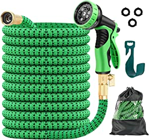 JSK Garden Hose - Lightweight No Kink Expandable Garden Hose 50FT with Superior Strength 3750D Fabric Flexible 3-Layers Latex Core 3/4 Inch Brass Connectors 9-Function Spray Nozzle Water Hose