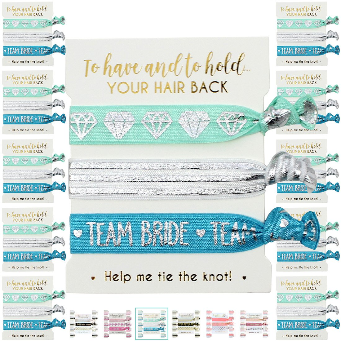 10 x 3-pack Hair Ties - Bachelorette and Wedding Shower Party Favors for Bridesmaids, Team Bride, Bride Tribe - 30 HAIR TIES IN TOTAL! (Aqua & Silver (Team))