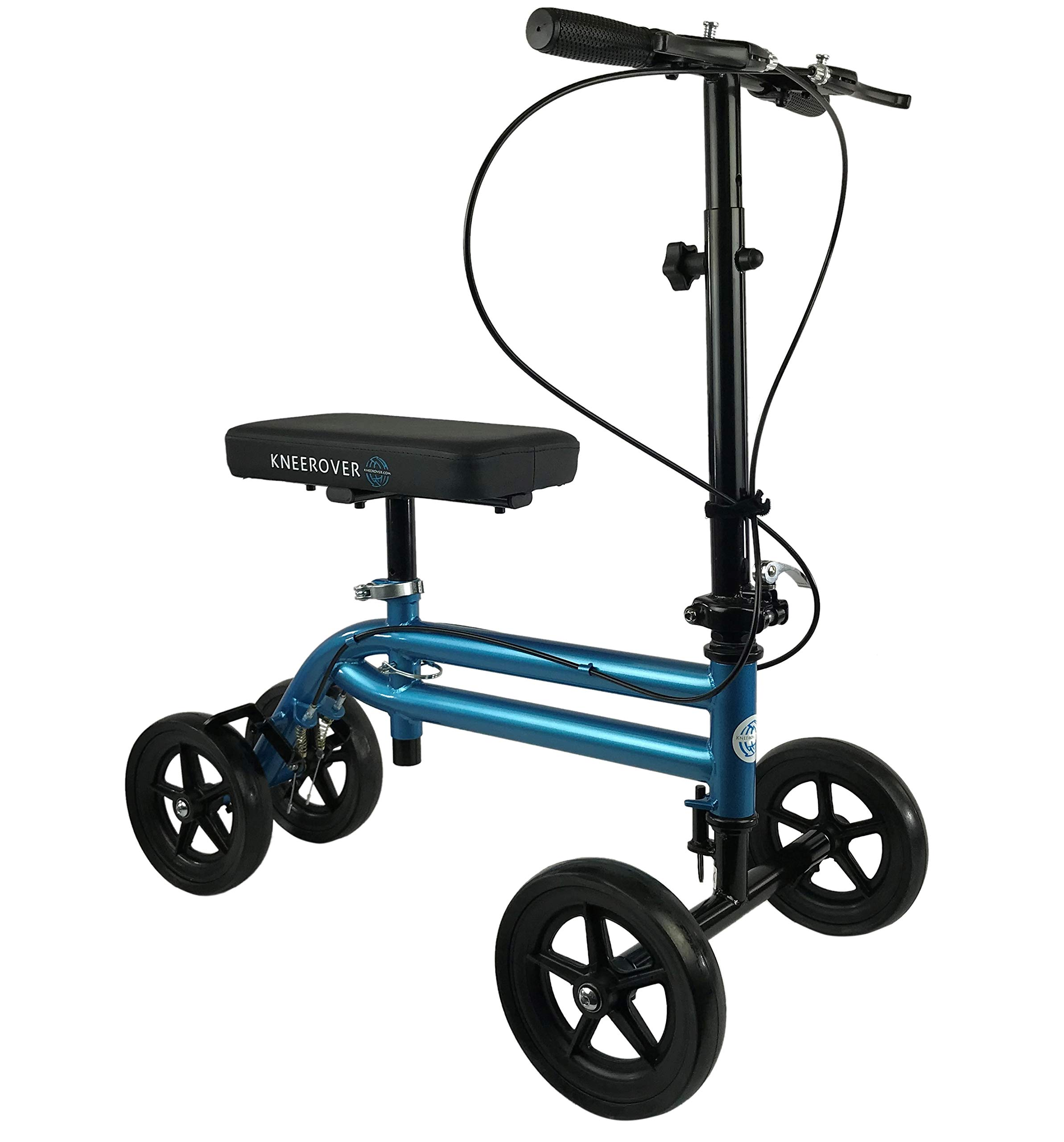 NEW KneeRover Economy Knee Scooter Steerable Knee Walker Crutch Alternative with DUAL BRAKING SYSTEM in Metallic Blue by KneeRover
