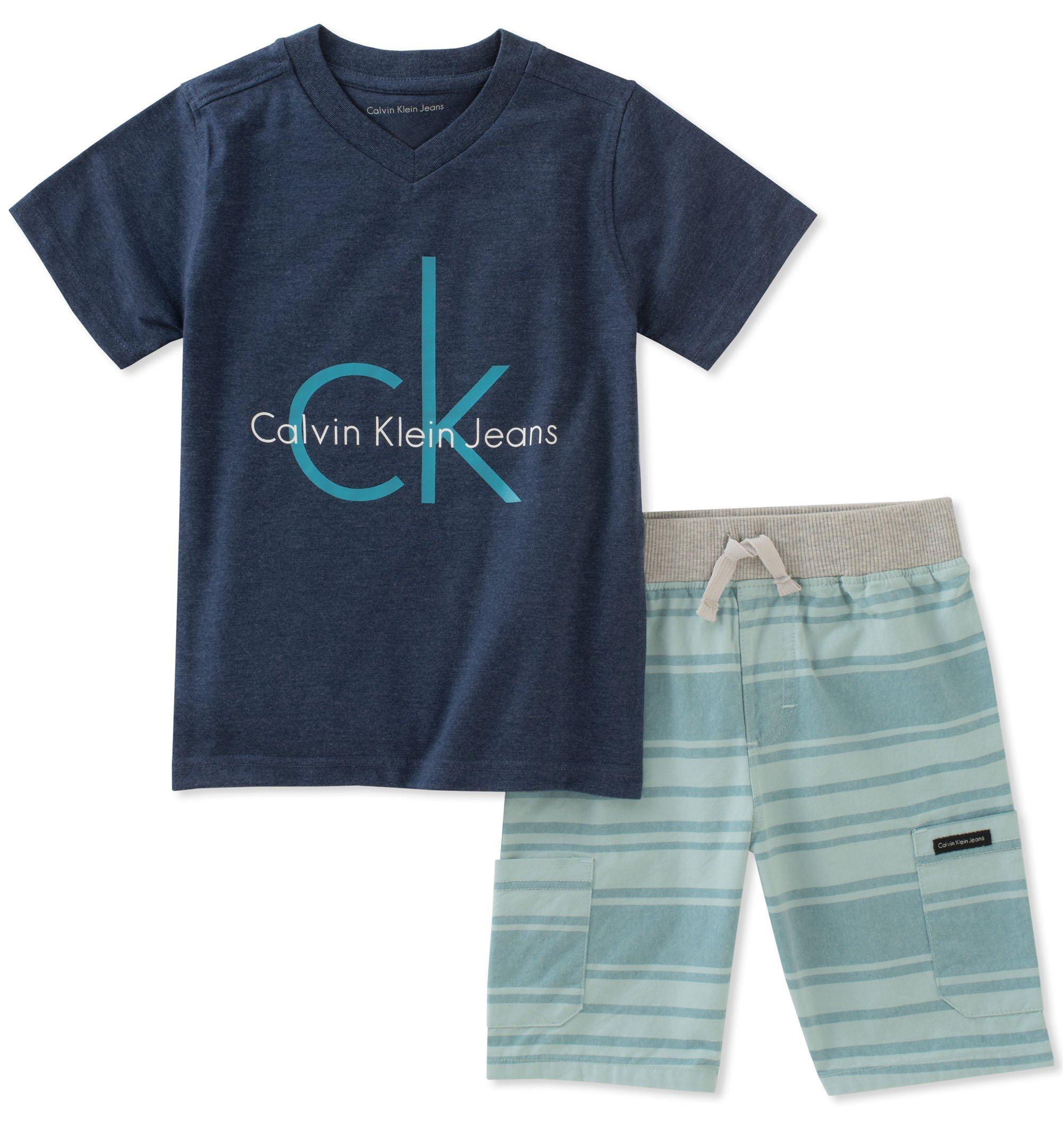 Calvin Klein Little Boys' 2 Pieces Shorts Set, Blue, 5