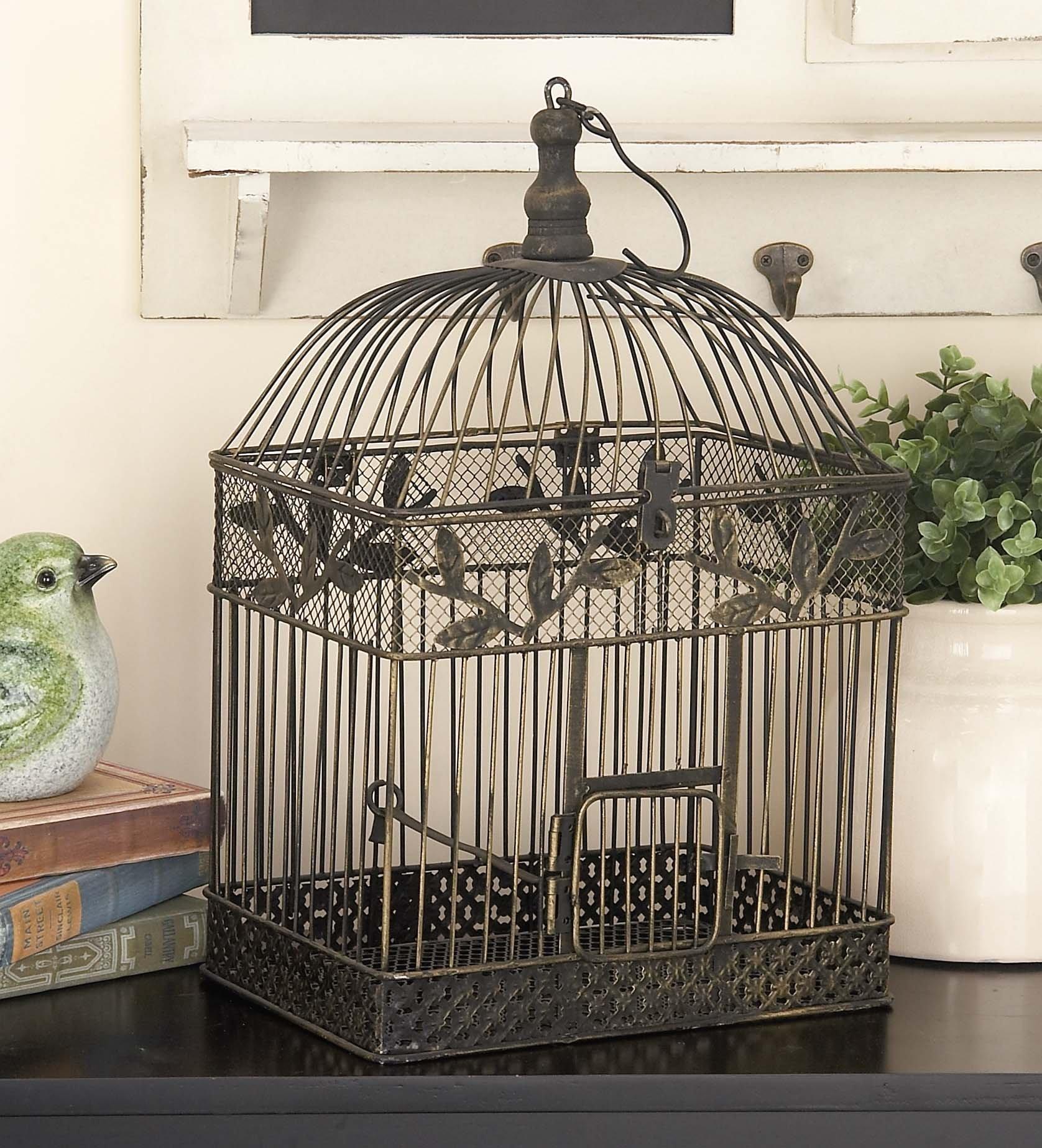 Deco 79 88016 2-Piece Metal Square Bird Cage Set by Deco 79