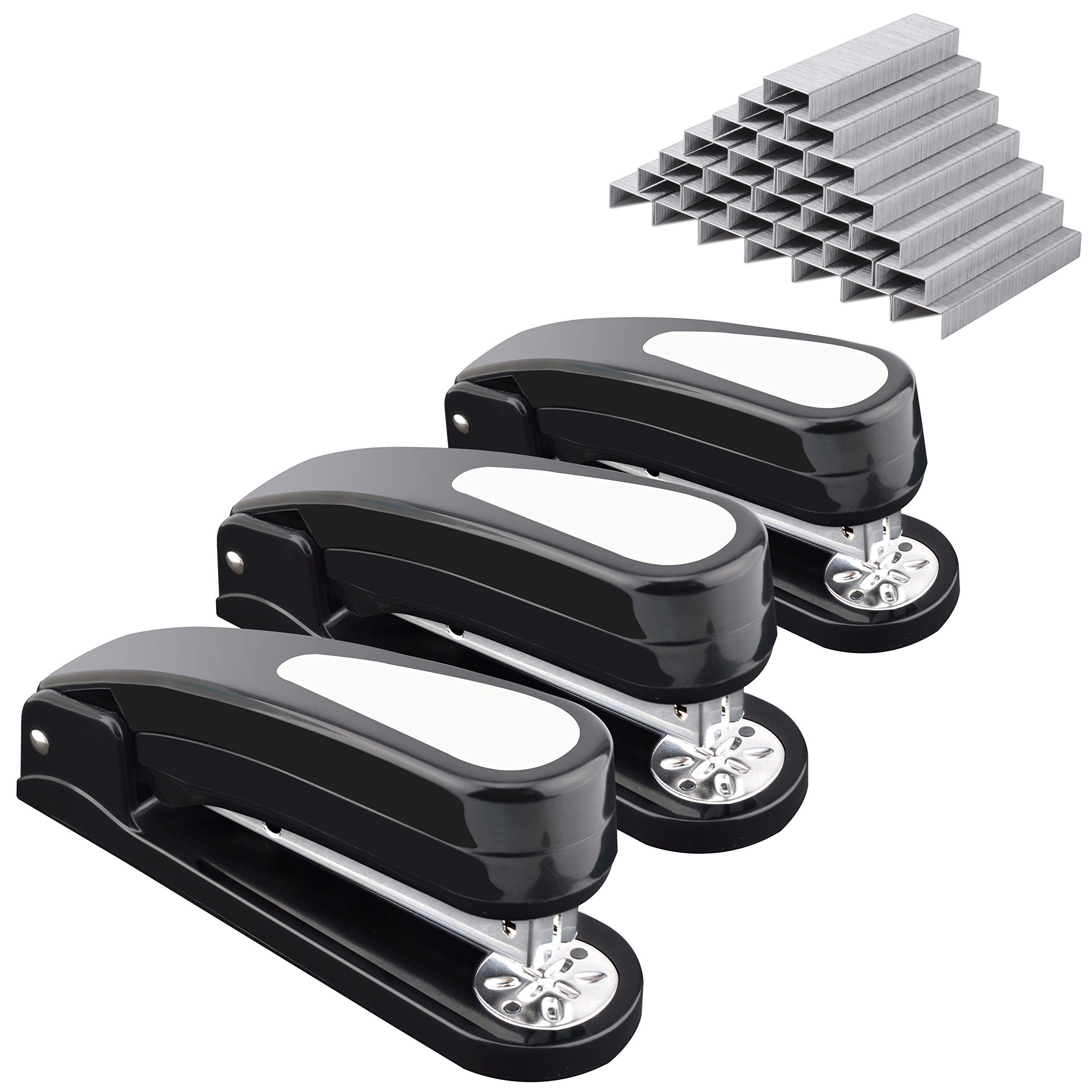 MROCO Desk Stapler, 360 Degree Rotatable Stapler, 20 Sheets Capacity with 3000 Staples, Half Stapler, Specialized for Booklet Stapling, Staples for Swingline Staples, Bostitch Staples,3 Pack(Black)