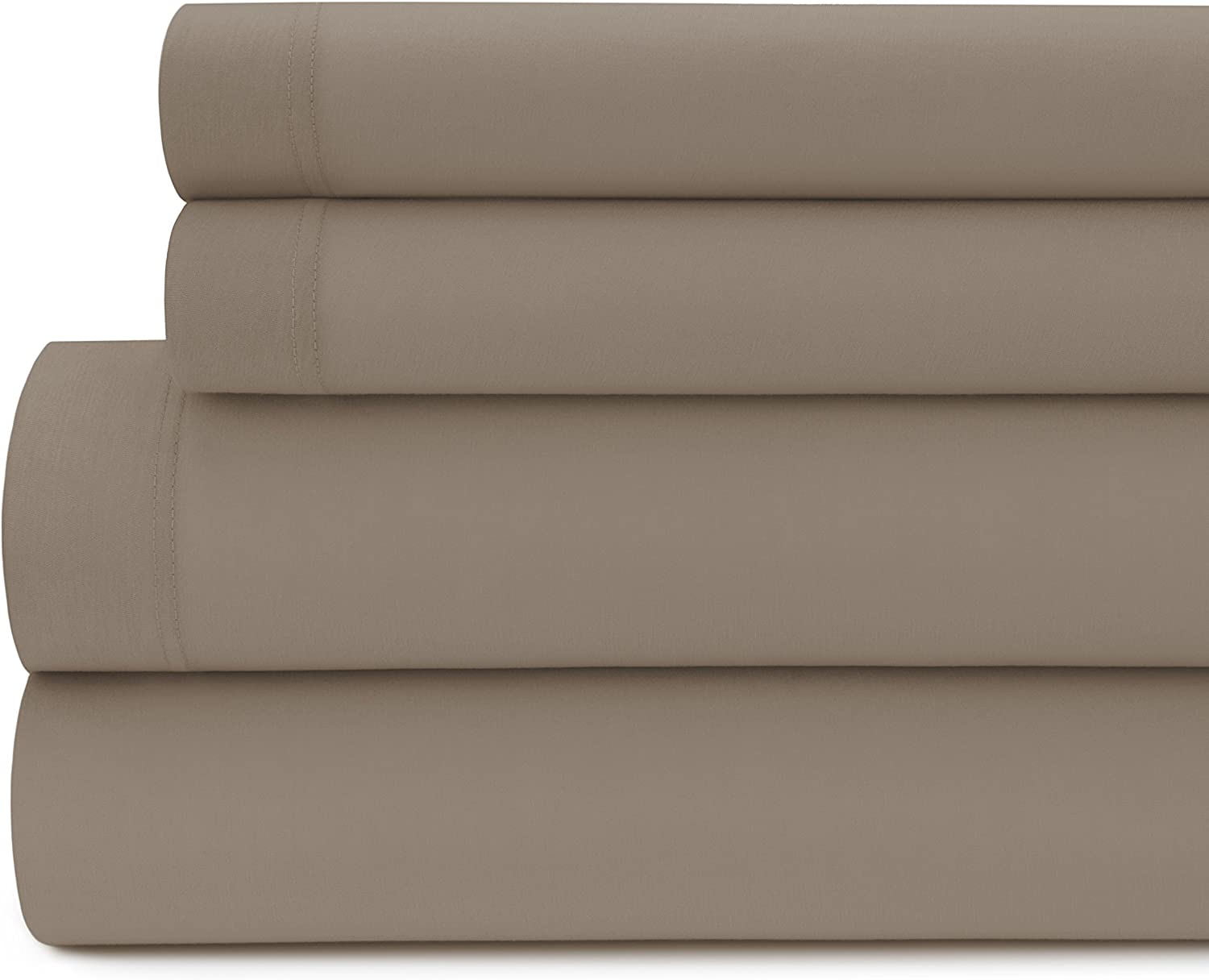 Briarwood Home Jersey Knit Bed Sheet Set – 100% Modal – Heavy Weight, T-Shirt Soft, Cozy 4 Piece Bedding – Fade & Wrinkle Free, All Season Breathable Sheets (Queen, Taupe)