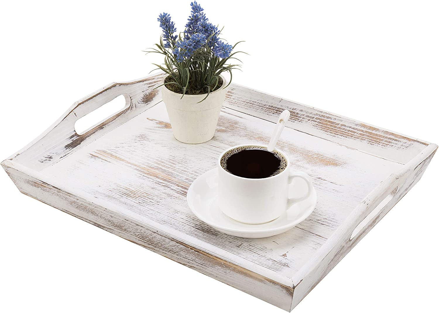 MyGift 16-inch Shabby Whitewashed Wood Breakfast Serving Tray with Cutout Handles