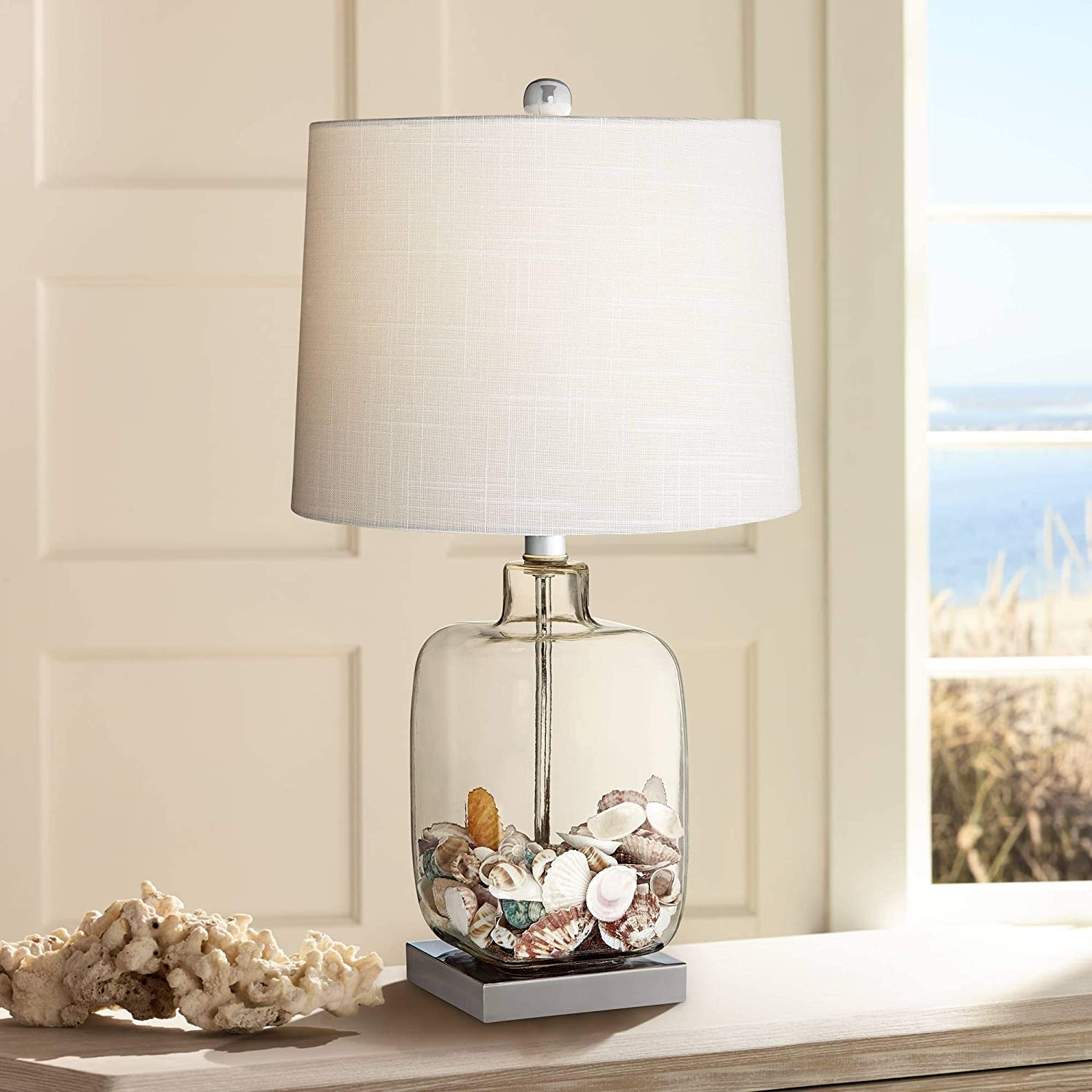 Coastal Accent Table Lamp Clear Glass Fillable Sea Shells White Drum Shade for Living Room Family Bedroom Bedside
