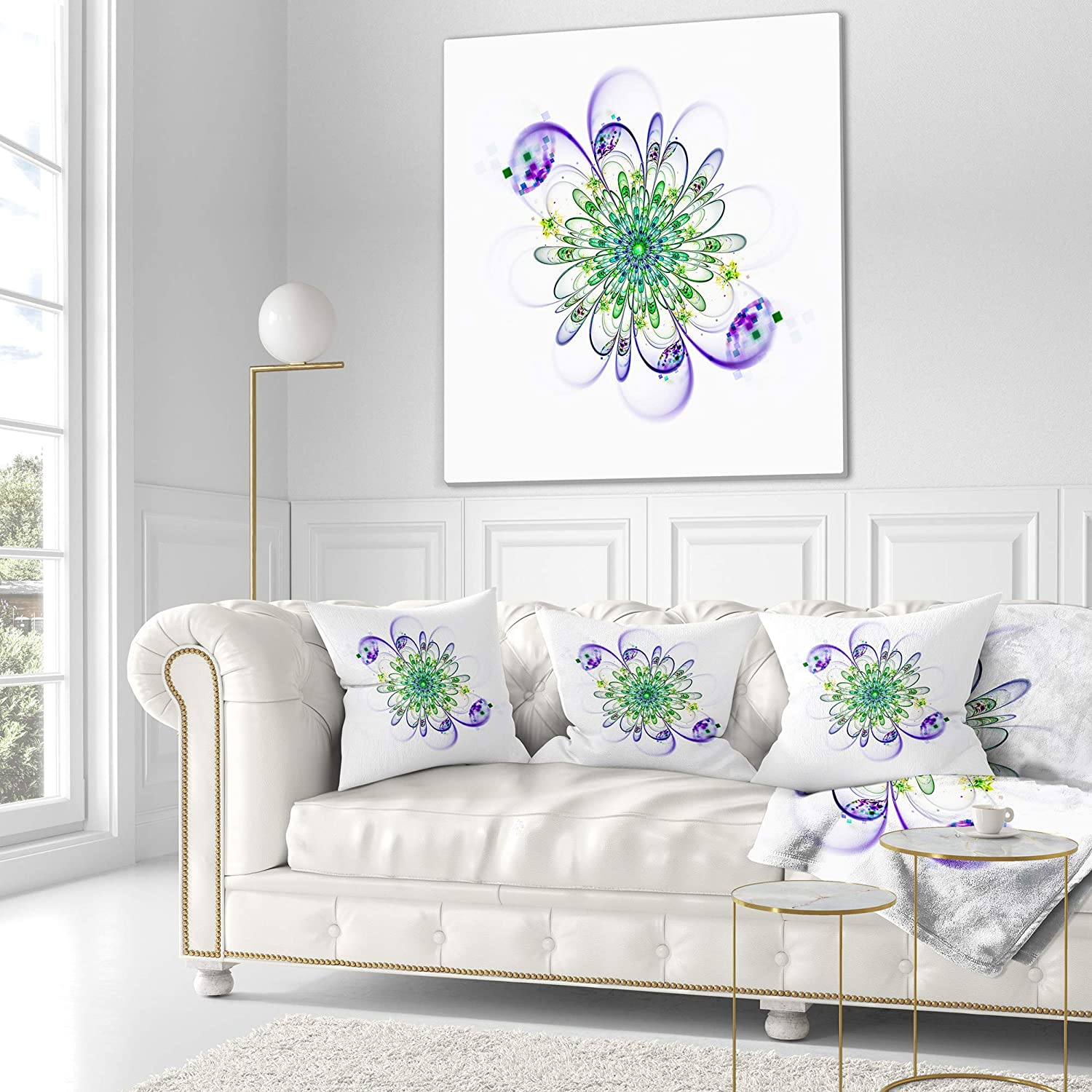 in Designart CU12170-26-26 Fascinating Green Purple Fractal Flower Floral Cushion Cover for Living Room Sofa Throw Pillow 26 in x 26 in