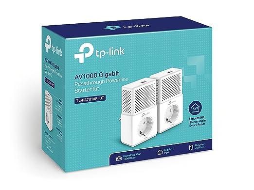 TP-Link TL-PA7010P Kit - 2 Adaptadores de Comunicación por Línea Eléctrica + AmazonBasics - Cable de Red Ethernet con Conectores RJ45 (Cat. 6, 1000 ...