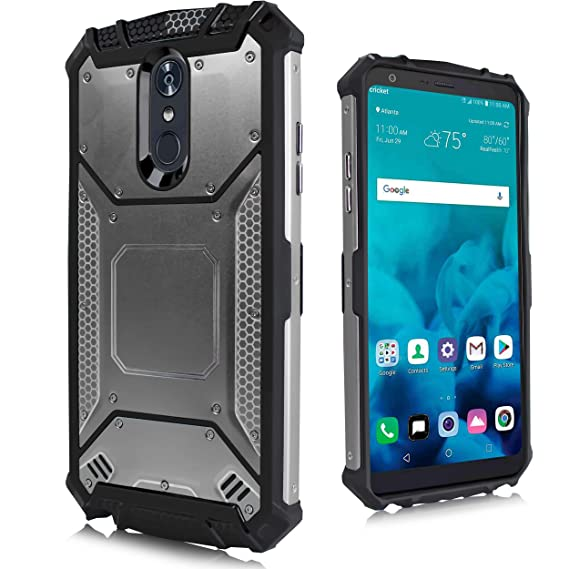 new product 04966 9d653 for LG Stylo 4, LG Stylus 4, LG Q Stylo 4 (Q710) 2018 Release (Metro PCS,  T-Mobile, Cricket etc) Carbon Fiber Metal Hybrid Defender Jacket Shockproof  ...