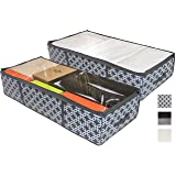 COMPONO 2 Pack Under Bed Storage Containers for Under The Bed Storage with Large Clear Window Carry Handles. Creates Storage Under Bed Organizer for Any Household Items (Pattern, Underbed Storage)