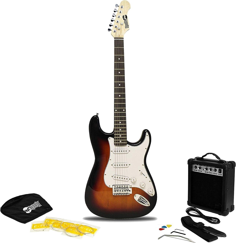 RockJam Superkit de guitarra eléctrica de tamaño completo con amplificador de guitarra, Cuerdas de guitarra, Correa, Bolsa y cable de guitarra Sunburst: Amazon.es: Instrumentos musicales