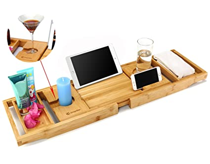 Amazon.com: Utoplike Luxury Bamboo Bathtub Caddy and Bathtub tray ...