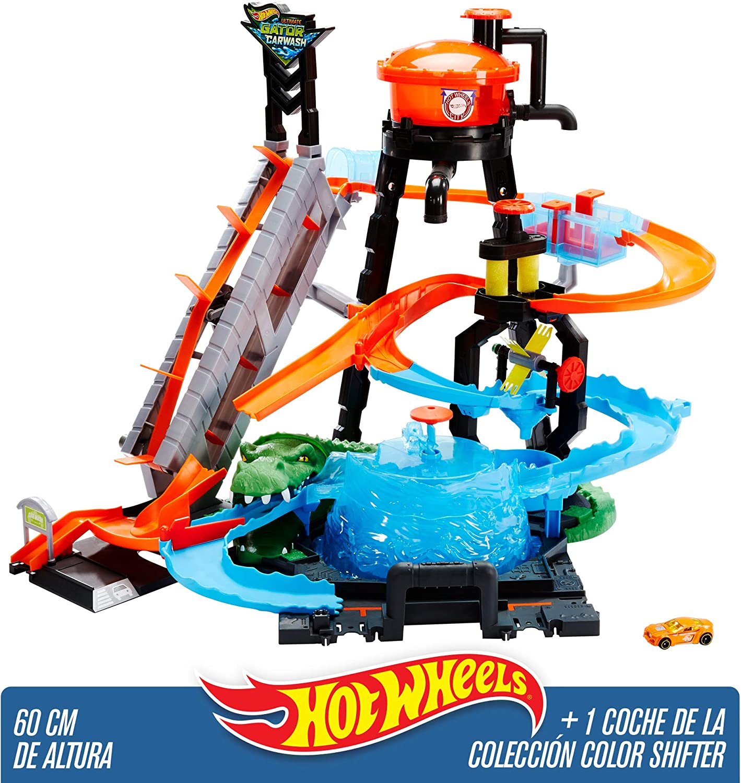 Hot Wheels - Pista coches cocodrilo túnel de lavado - (Mattel FTB67): Amazon.es: Juguetes y juegos