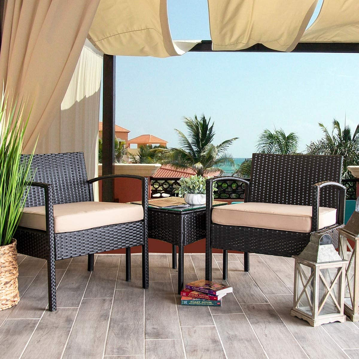 Barton 3PCS Patio Chair Set Patio Wicker Rattan Bistro Outdoor Chair Seat Thick Cushion w Glass Coffee Table Set