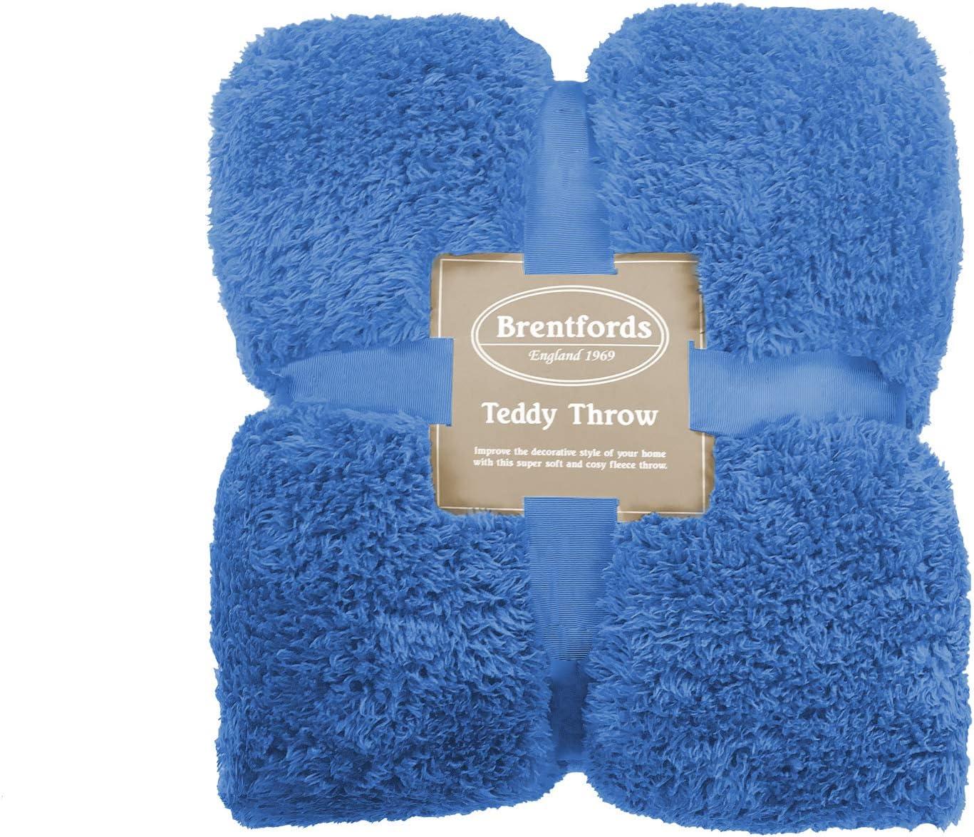 Brentfords Teddy Couvre-lit en Polaire Bleu 100 x 150 cm