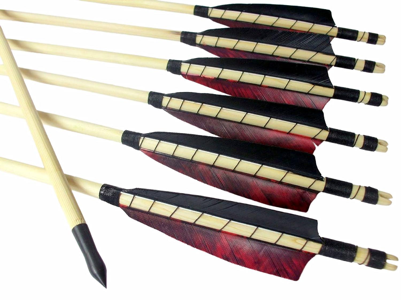 12 Traditionelle Holzpfeile mit 4 Shield Cut Naturfedern