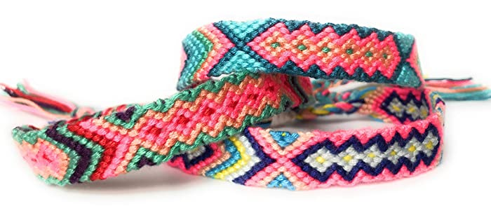 ad44e0d034254 3 Woven Friendship Bracelets or Anklets, Neon String in Bright Colors with  Aztec Pattern and Adjustable Knot