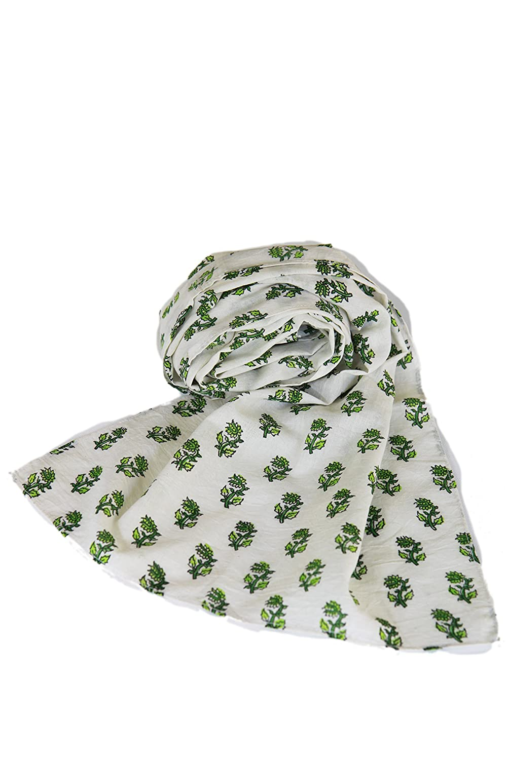 Long Cotton Scarf -Fashion - Fall / Winter accessories - Green Leaves Print