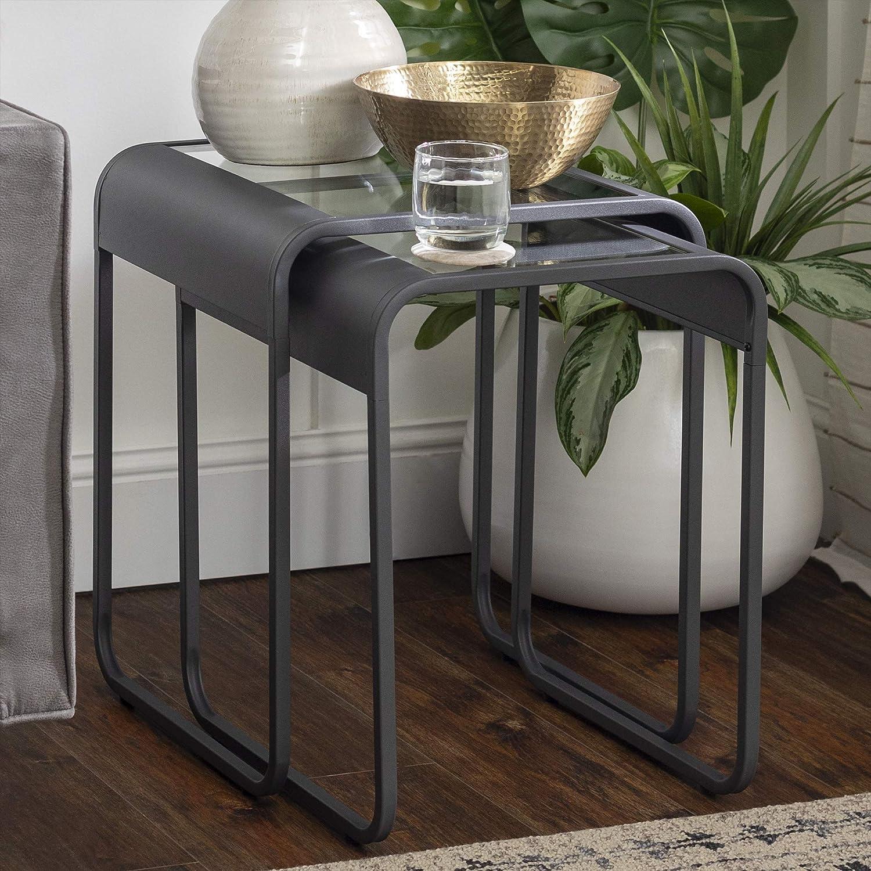 Walker Edison Curved Frame Nesting Side Accent Set Living Room Storage End Table, Gun Metal Grey