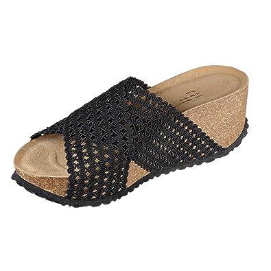 JOE N JOYCE Damen Tokio Mesh Soft Fußbett Sandalen Black Größe 41 EU Normal PZbgc