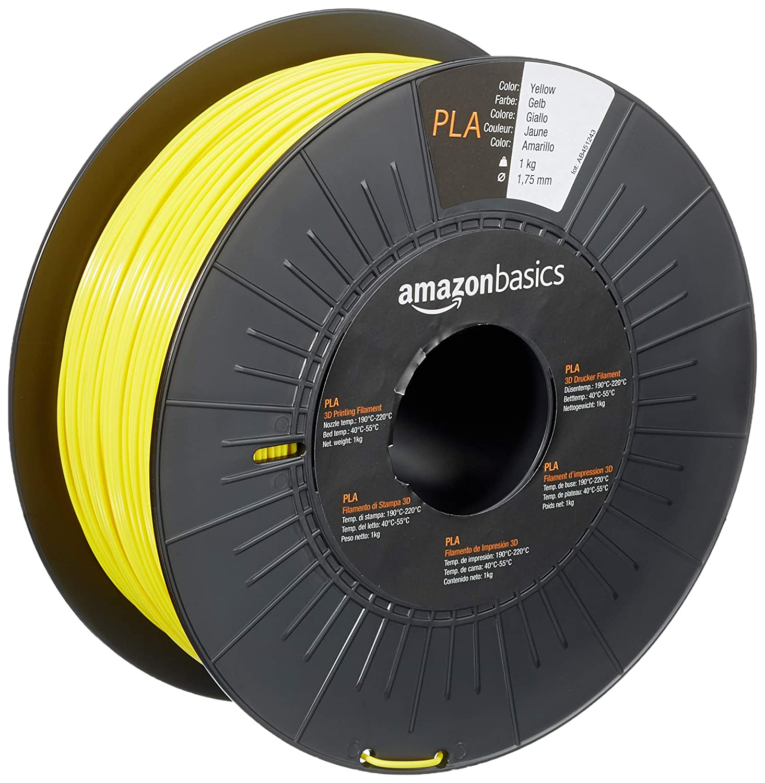 AmazonBasics PLA 3D Printer Filament, 1.75mm, Yellow, 1 kg Spool