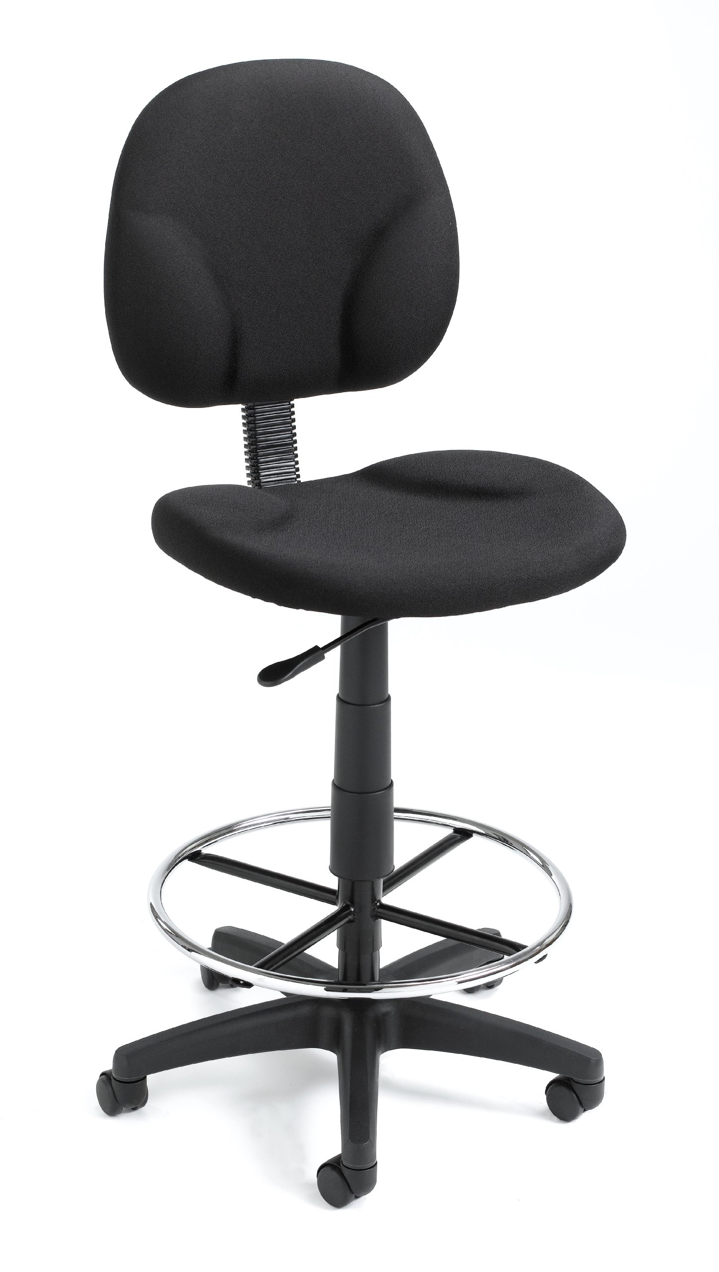 Boss Office Products B1690-BK Stand Up Fabric Drafting Stool without Arms in Black
