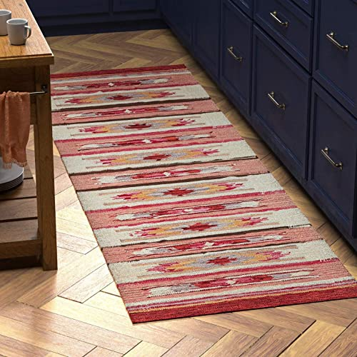 Stone Beam Casual Geometric Kilim Cotton Runner Rug, 2 6 x 8 , Flatweave, Red, Orange, Ivory