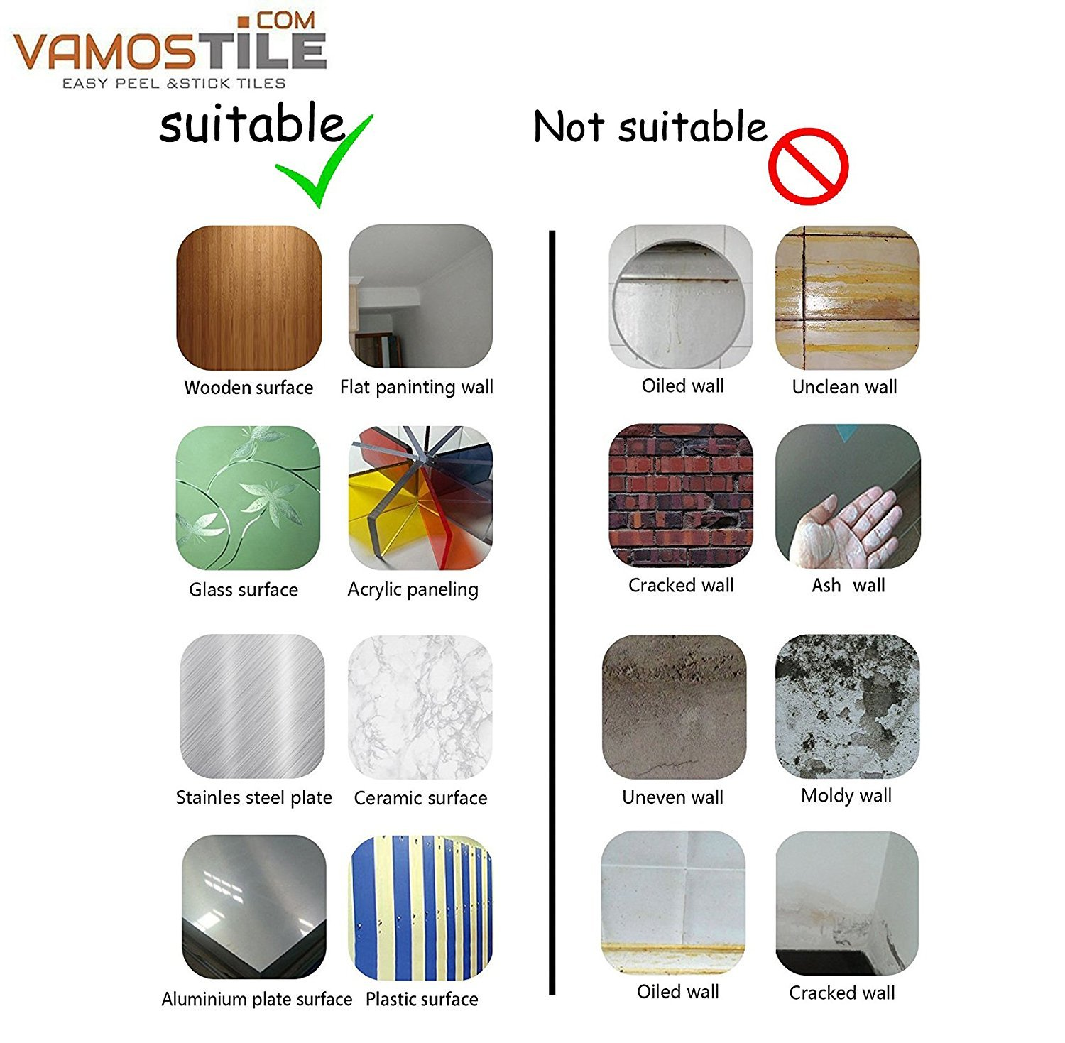 Amazon.com: Vamos Tile Premium Anti Mold Peel and Stick Tile ...