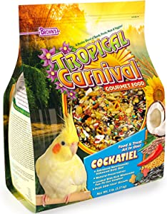 F.M. Brown's Tropical Carnival Gourmet Bird Food for Cockatiels, Lovebirds, and Conures, Vitamin-Nutrient Fortified Daily Diet, 3lb