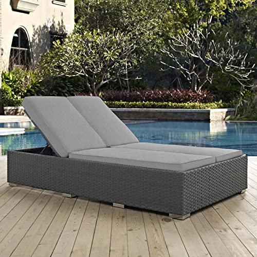 Modway Sojourn Wicker Rattan Outdoor Patio Sunbrella Fabric Double Chaise in Chocolate Gray