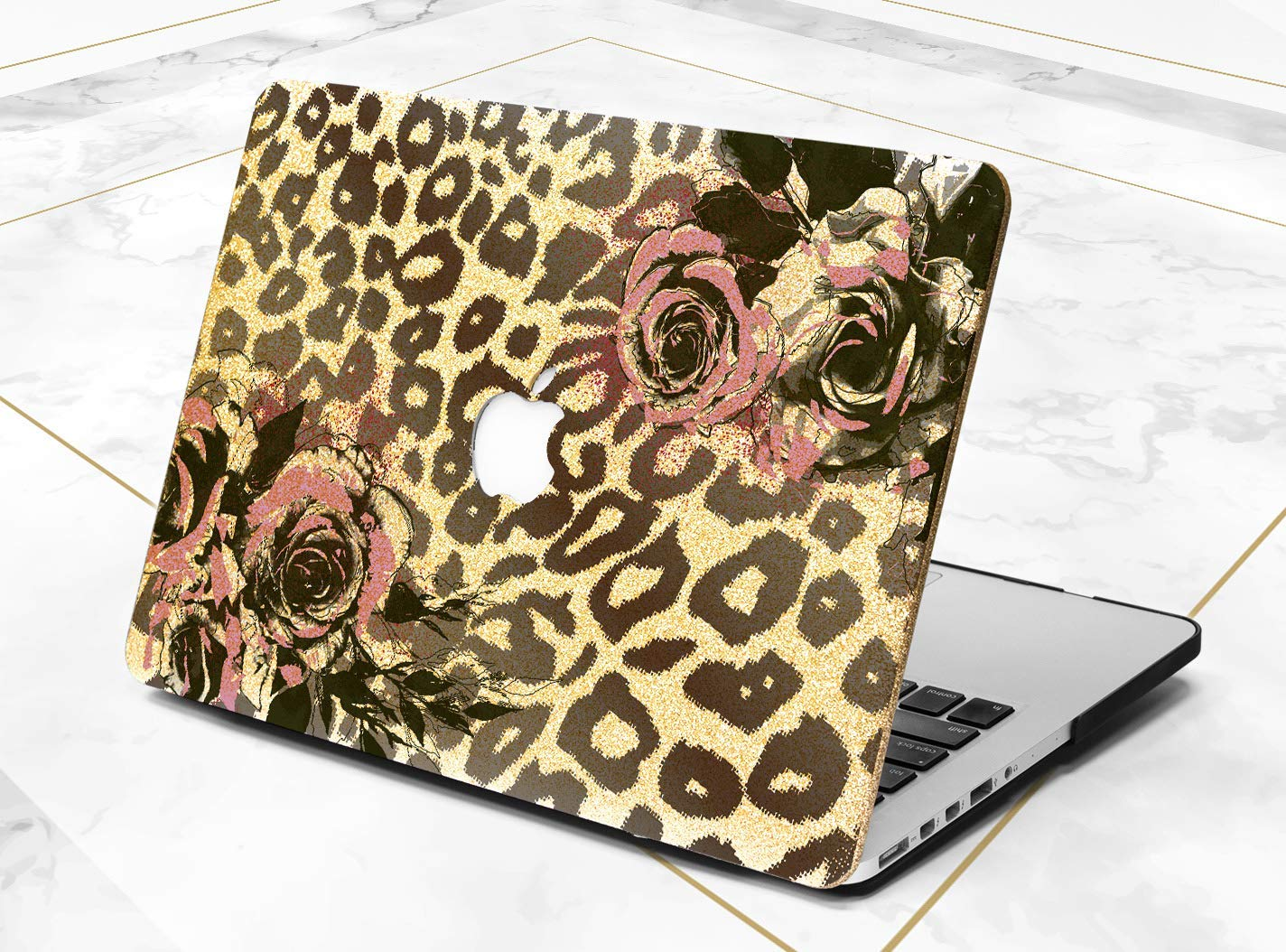 Leopard Floral Design Gold Rose Gold Hard Plastic Glitter Case Cover For Apple Macbook Air 11 13 Macbook 12 Macbook Pro 13 15 Inch 2016 2017 With Retina Display Touch Bar