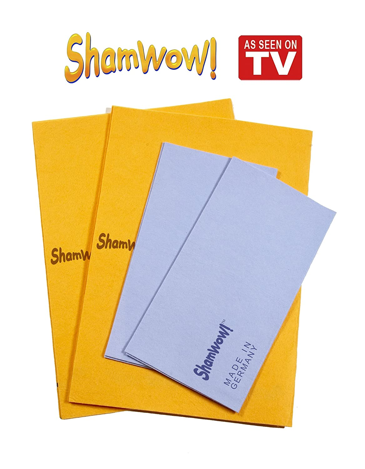 The Original Shamwow - Super Absorbent Multi-Purpose Cleaning Shammy (Chamois) Towel Cloth, Machine Washable, Will Not Scratch (1 Orange, 1 Blue) Square One Entertainment Inc. ShamwowOB2