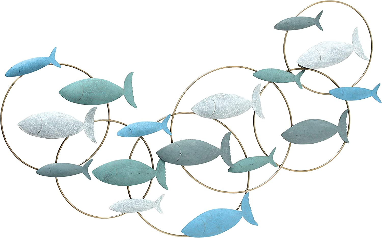 WHW Whole House Worlds School of Fish Metal Wall Decor Art, Turquoise, Teal, White, Grey and Gold, Made by Hand, Vintage Details, Iron, 35.5 Inches