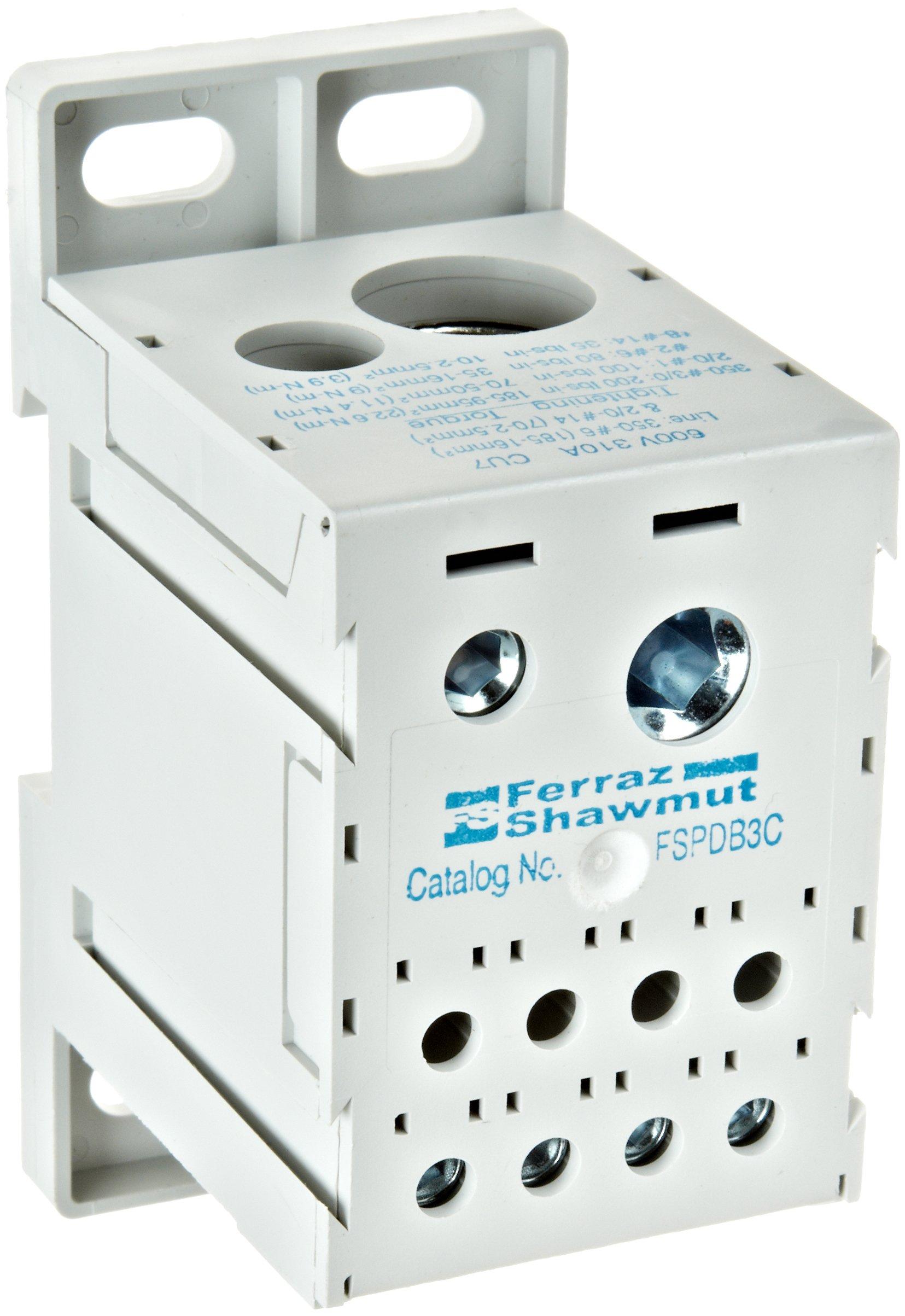 Mersen FSPDB3C Copper Finger-Safe Power Distribution Block, 600VAC/DC, 100kA, 310 Ampere, 3-31/32'' Length x 2-17/32'' Width x 1-27/32'' Height