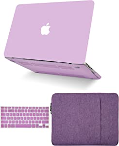 "KECC Laptop Case for MacBook Pro 13"" (2020, with Touch Bar) w/Keyboard Cover + Sleeve Plastic Hard Shell Case A2289/A2251 3 in 1 Bundle (Lavender)"