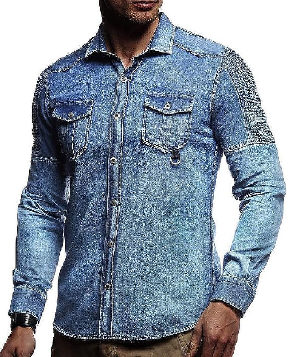 CBTLVSN Mens Long Sleeve Washed Denim Slim Fit Button Down Shirt