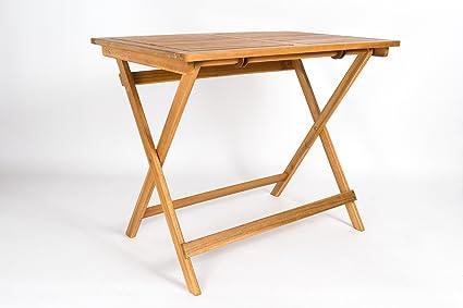Amazon De Sam Akazien Holz Gartentisch Massiver Tisch 80 X 60 Cm Balkontisch Fur Balkon Terrasse