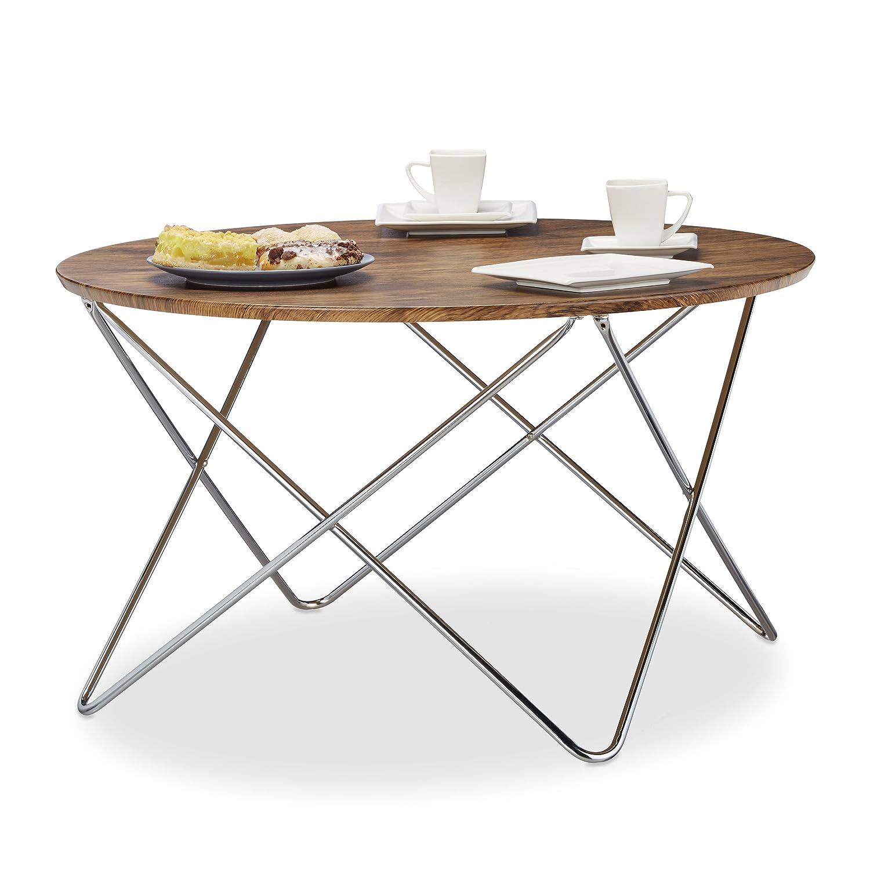 Relaxdays Table d appoint ronde grande table basse en bois look vintage  pieds croisés cadre en métal HxlxP  50 x 90 x 90 cm, nature  Amazon.fr   Cuisine   ... 66eabb904361