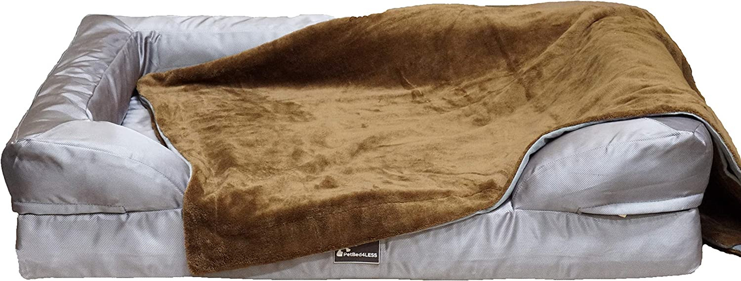 PetBed4Less Premium 100/% Waterproof Silky Soft Throw Dog Blanket Cat Blanket with Reversible Duo Layers