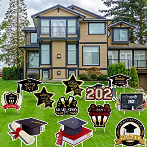 12 Packs Graduation Yard Signs Outdoor Lawn Decorations 2021 Congrats Grad Yard Signs for Home Garden Lawn Décor, 2021 Graduation Party Supplies