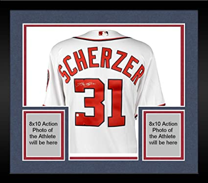 low priced f7f9f 376e3 Framed Max Scherzer Washington Nationals Autographed White ...