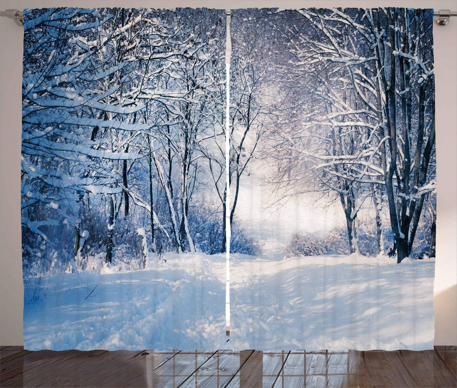 """Ambesonne Winter Curtains, Alley in Snowy Forest Cold Freezing Weather Rural Nature Outdoors Woodland, Living Room Bedroom Window Drapes 2 Panel Set, 108"""" X 84"""", White Black"""