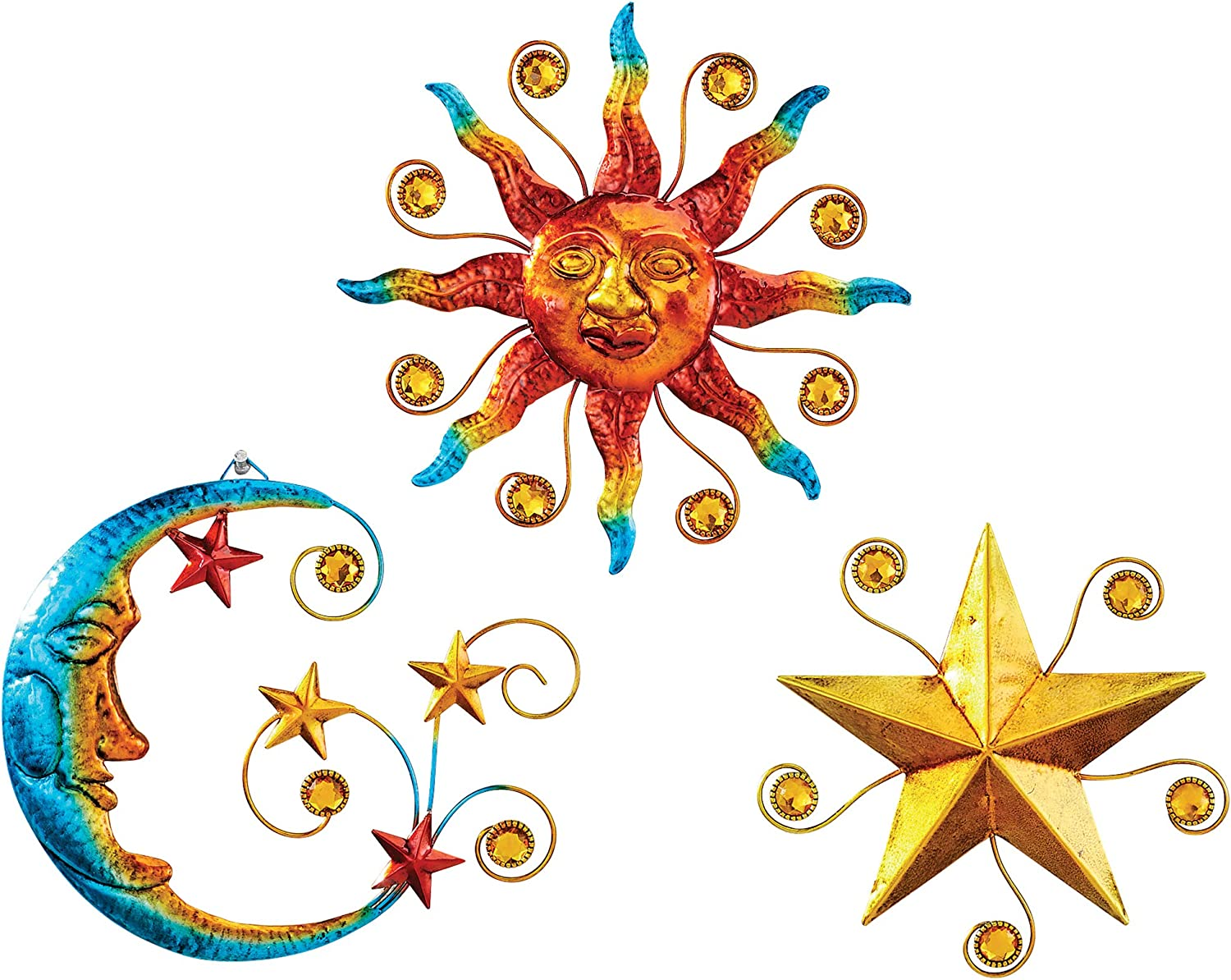 Star Moon Collections Etc Celestial Wall Trio Decorative Sculptures Hook on Back for Easy Hanging for Indoor Outdoor Use 8 L x 8 H Beads Includes Sun Metal