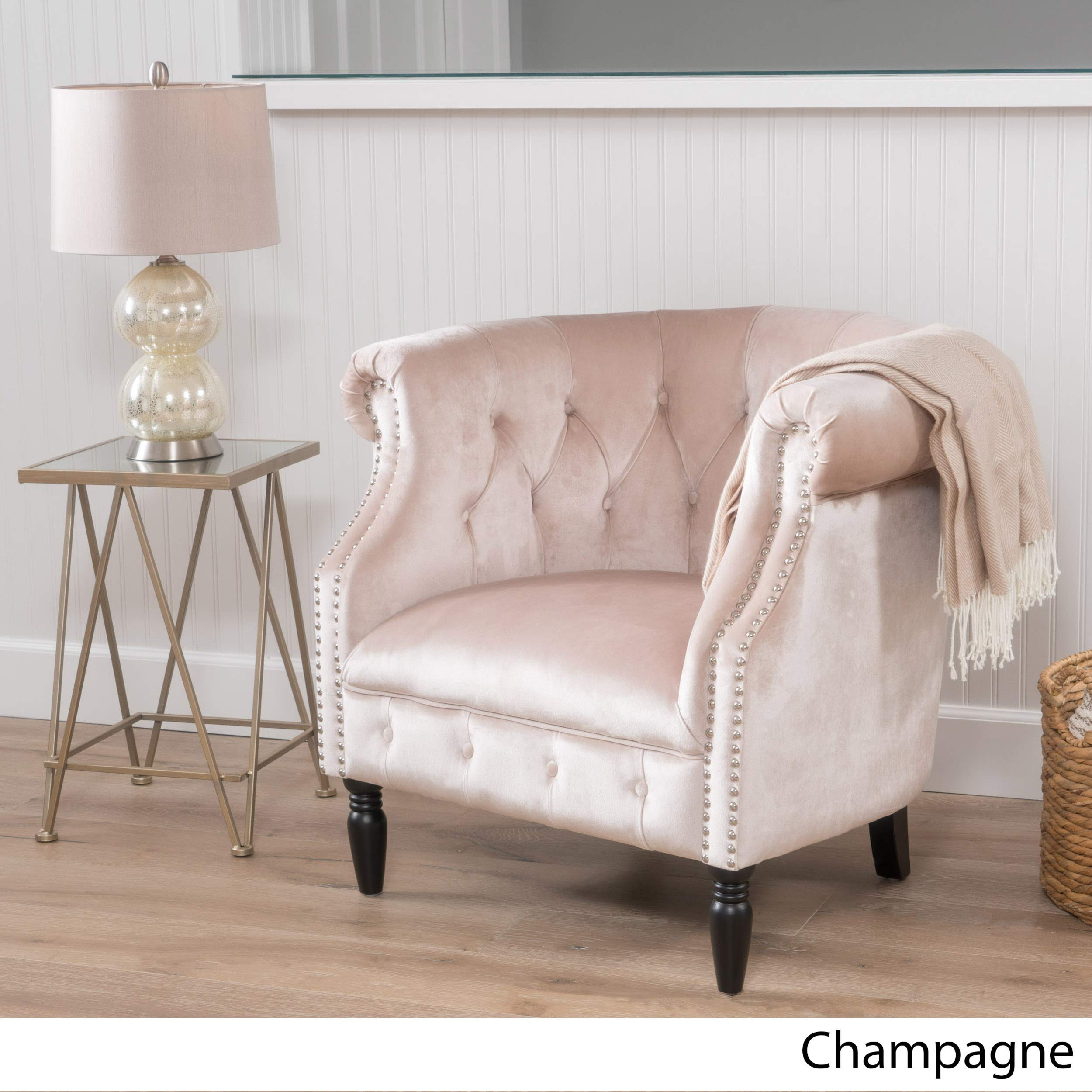 Details about Chanpagne Velvet Accent Chair Lounge Living Room Bedroom Club  Tufted Traditional