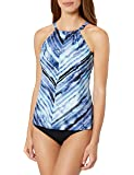 24th & Ocean Women's High Neck Adjustable Neckline Tankini Swimsuit Top