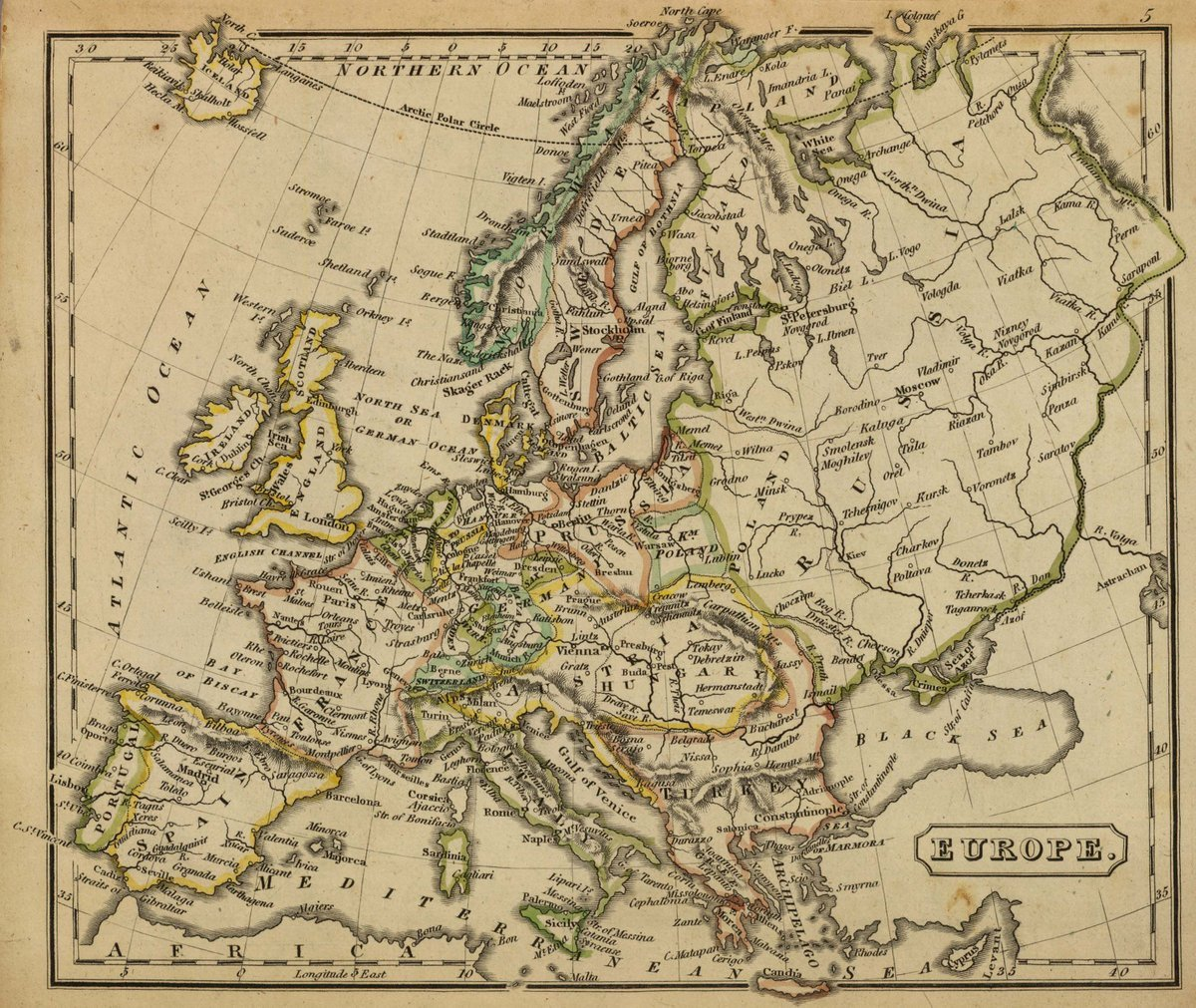 1826 School Atlas   Europe. (Boston: Hilliard, Gray, Little and Wilkins, 1826)   Antique Vintage Map Reprint