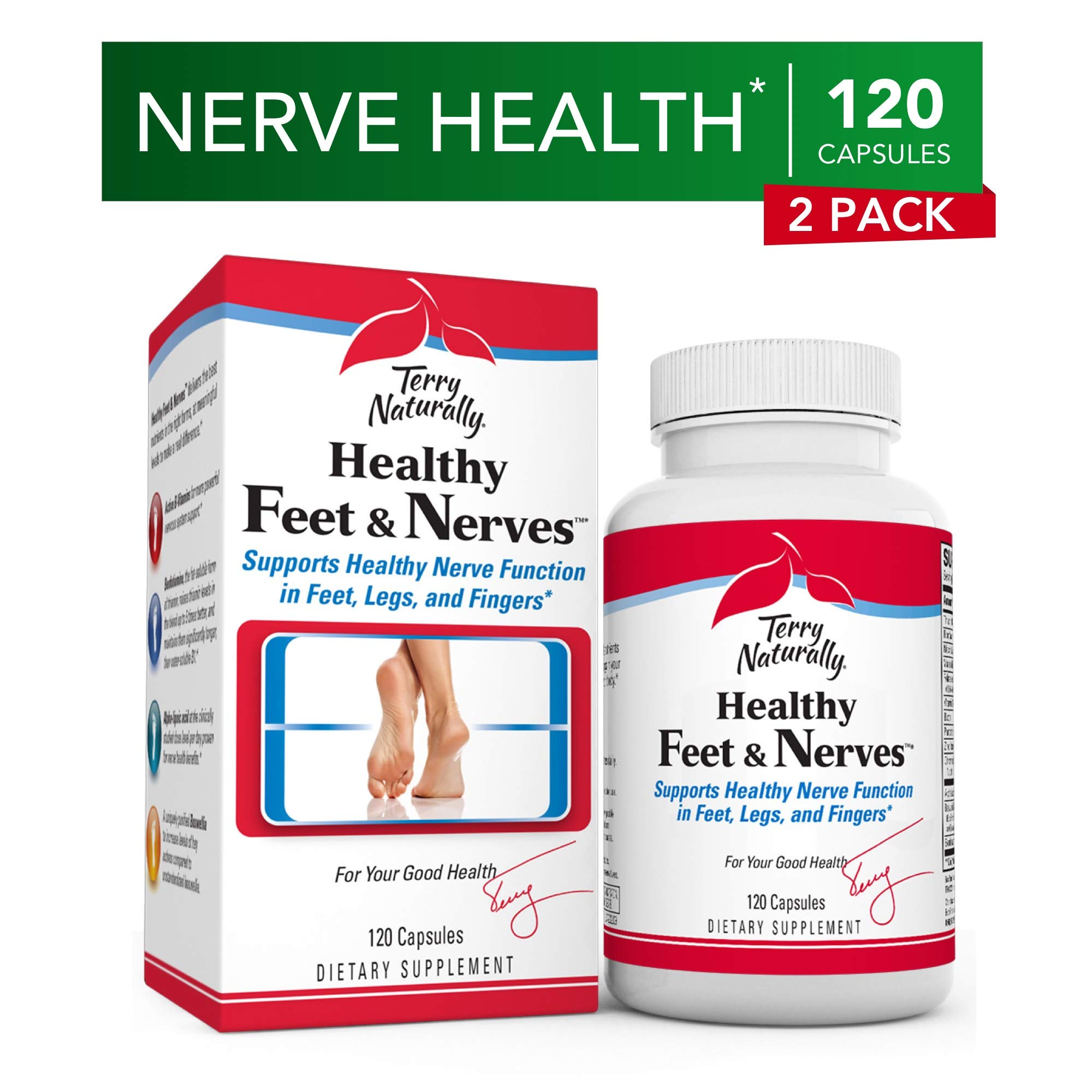 Terry Naturally Healthy Feet & Nerves (2 Pack) - 120 Vegan Capsules - Nerve Function Support Supplement, Contains B Vitamins & Boswellia - Non-GMO, Gluten-Free - 120 Total Servings