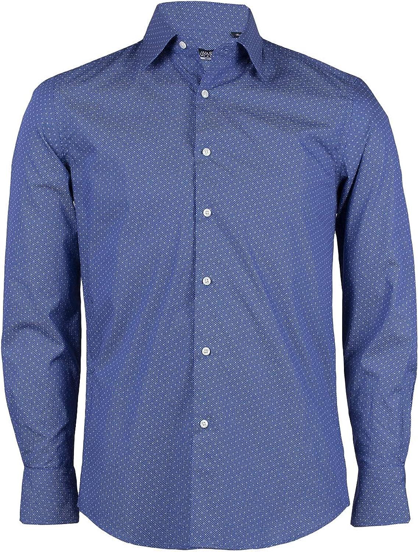 Uvaspina - Camisa de hombre azul con microfantasía de ...