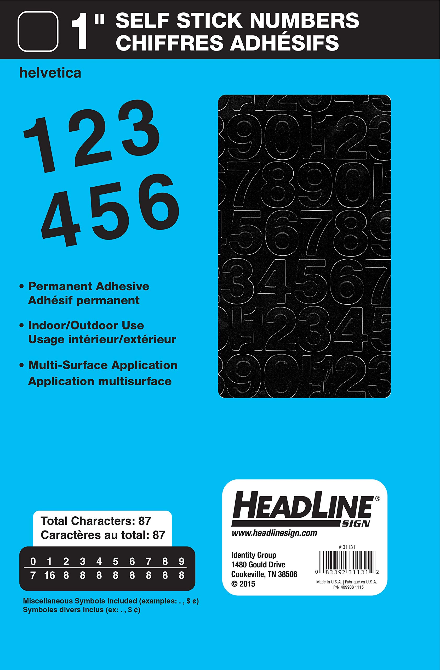 Red Headline Sign 31743 Stick-On Vinyl Letters and Numbers 1//4-Inch