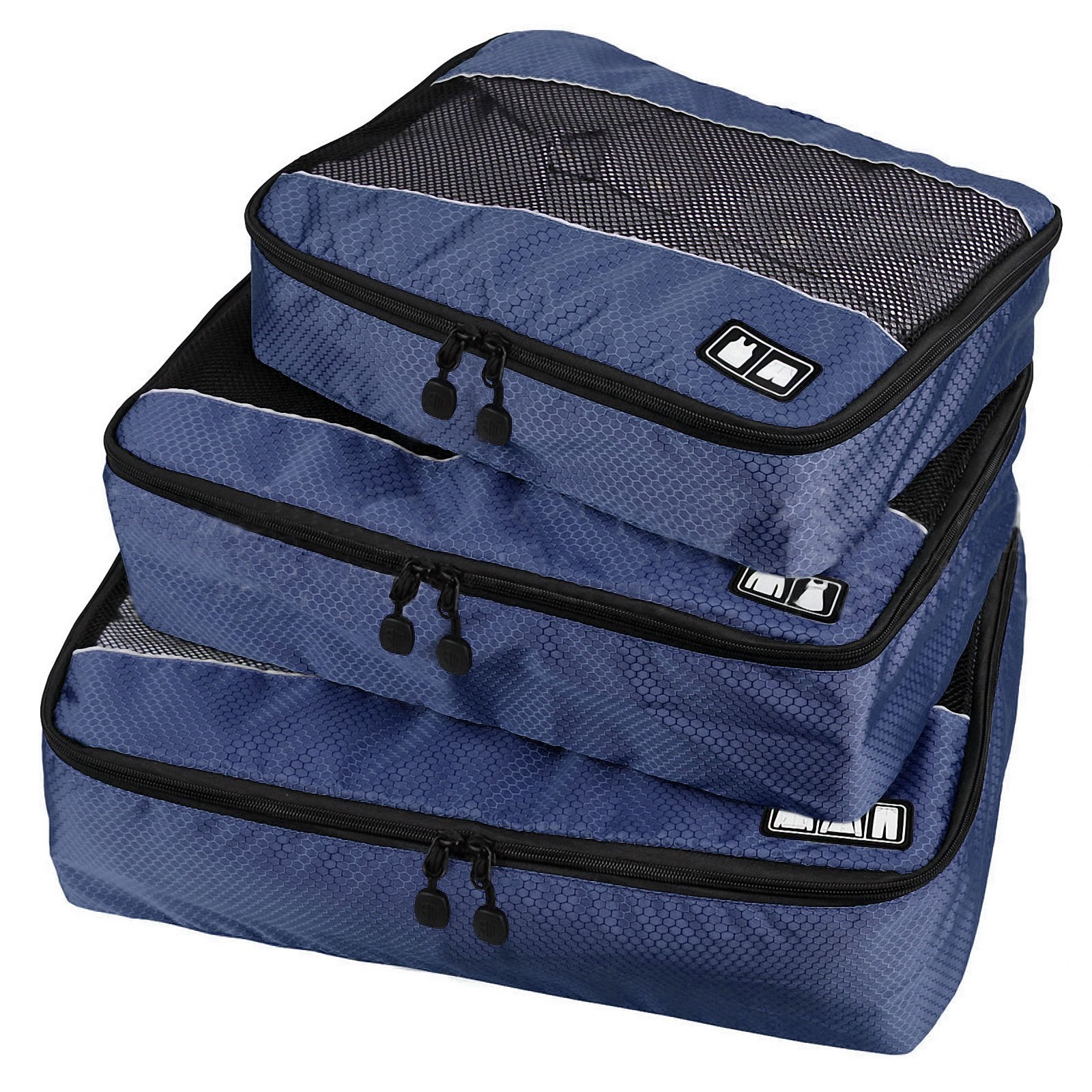 Travel Packing Organizers - Clothes Cubes Shoe Bags Laundry Pouches For Suitcase Luggage, Storage Organizer 3 Set Color Navy